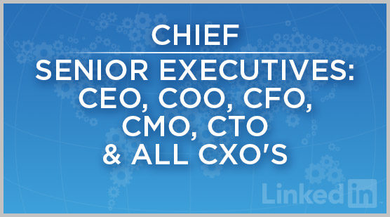Chief | Senior Executives: CEO, COO, CFO, CMO, CTO & All CXO's